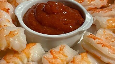 Shrimp with homemade keto cocktail sauce