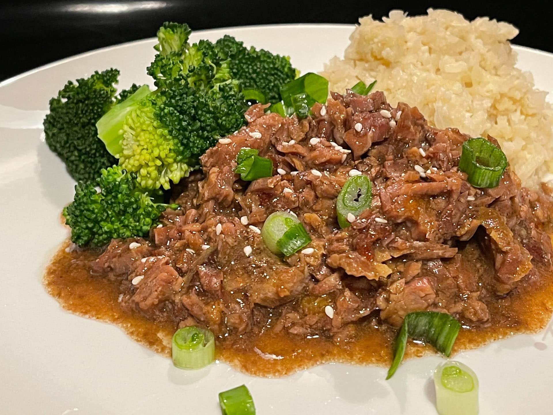 Beef Mongolian Keto Style with broccoli and cauliflower rice